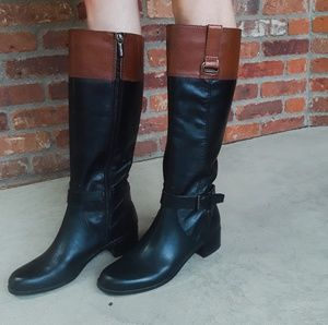 Bandolino two tone black and brown riding boots